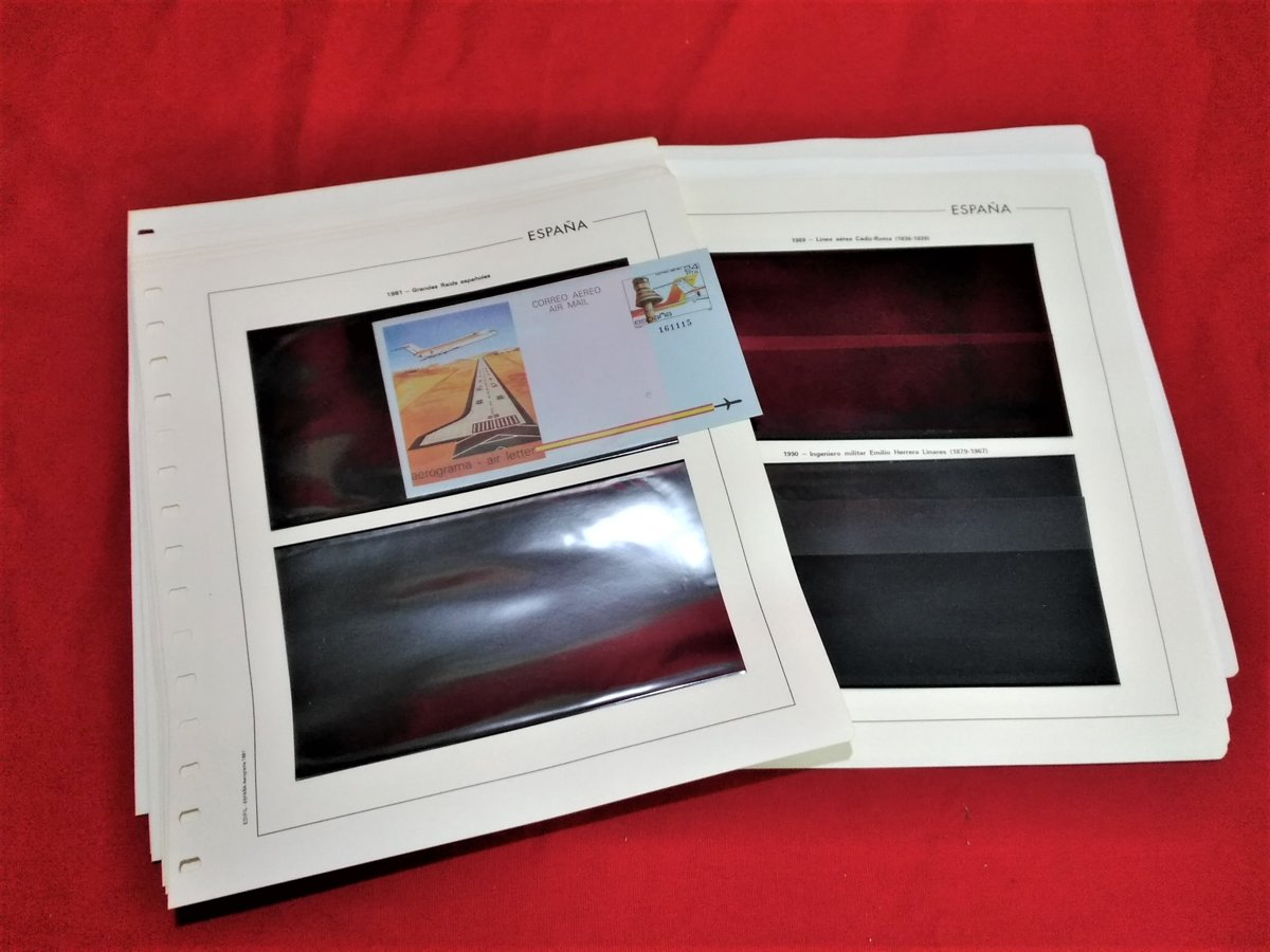 EDIFIL AEROGRAMAS años  1981 a 1996 montado con estuches negros / Ref.081