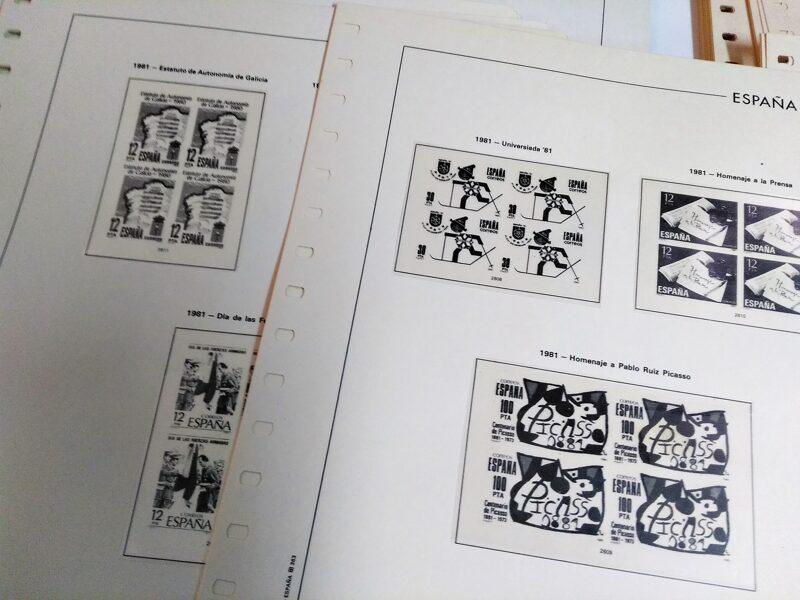 FILABO Bloque de Cuatro  años 1981 a 1985 montado con estuches transparentes / Ref. 175