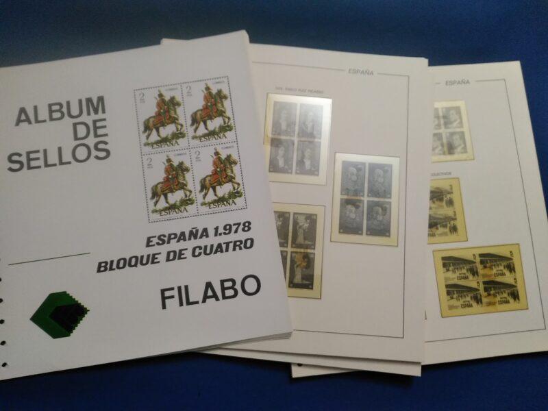 FILABO Bloque de Cuatro -papel registro- años 1978 a 1981 montados con estuches transparentes / Ref. 185