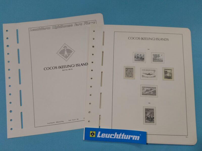 LEUCHTTURM  < ISLAS COCOS > años 1963 a 1987 montado con estuches transparentes/ Ref. ex003