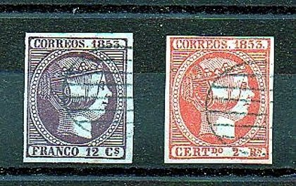 ESPAÑA //  FALSOS  Año 1853 - nº 18-19