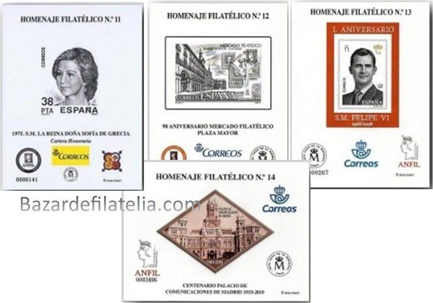Conjunto de Homenajes Filatélicos nº 11 - 12 - 13 - 14