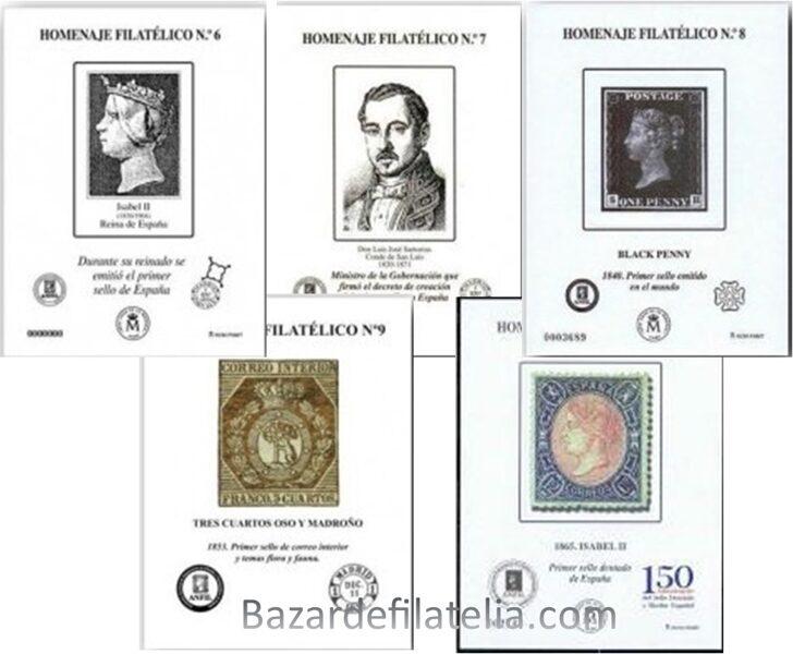 Conjunto de Homenajes Filatélicos nº 6 - 7 - 8 - 9 - 10