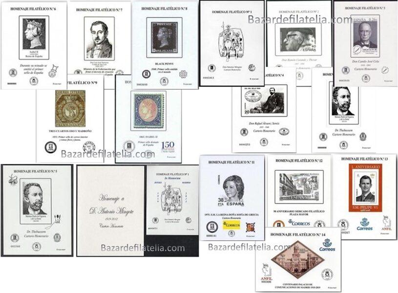 Conjunto de Homenajes Filatélicos nº 1 a nº 14 + nº 8A + nº 9A